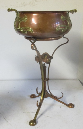 wmf flower pot on stand brass and copper